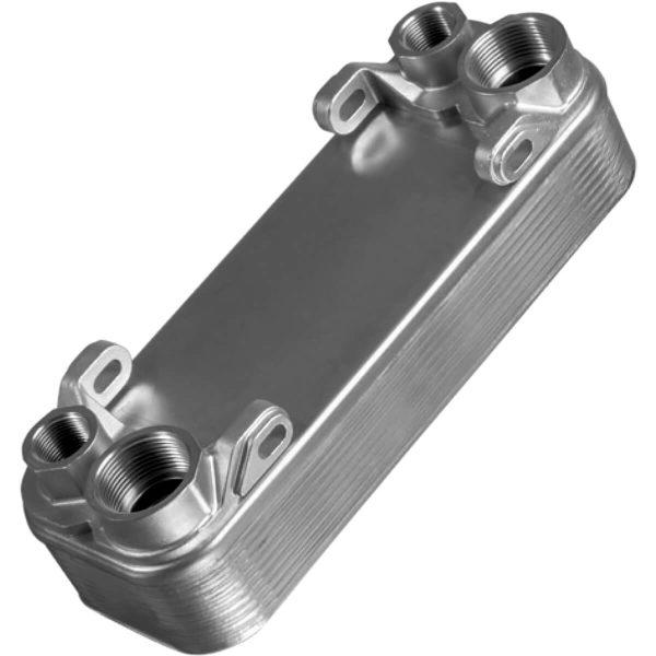 Forrasztott lemezes hőcserélő Magas üzemi nyomásra Magas üzemi hőmérsékletre Kompakt csatlakozások, keményforrasztással Hűtőteljesítmény 5–360 kW Alkalmas a legtöbb ipari hidraulikus alkalmazáshoz az erős kialakítás a keményforrasztott érintkezési pontok miatt