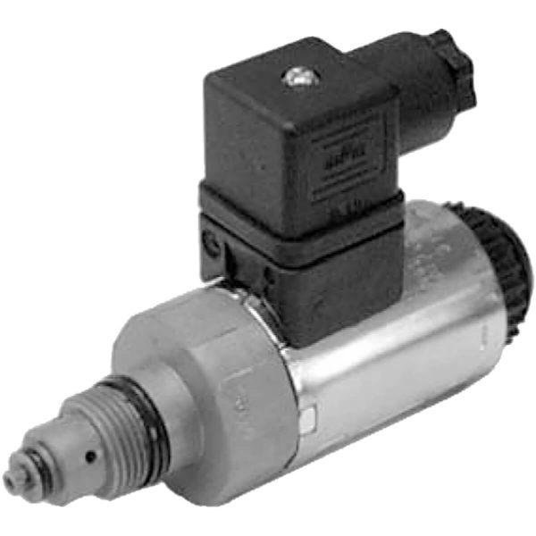 Patronos közvetlen vezérlésű nyomáshatároló, arányos mágnessel P max 350 bar Q max 1,5 l/min
