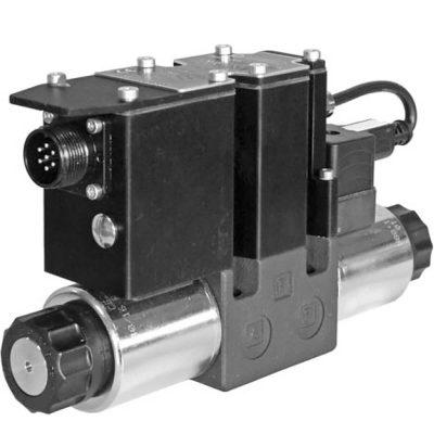 Közvetlen működtetésű útszelep arányos mágnessel, ráépített elektronikával ISO 4401-03 p max 350 bar Q max 40 l/min
