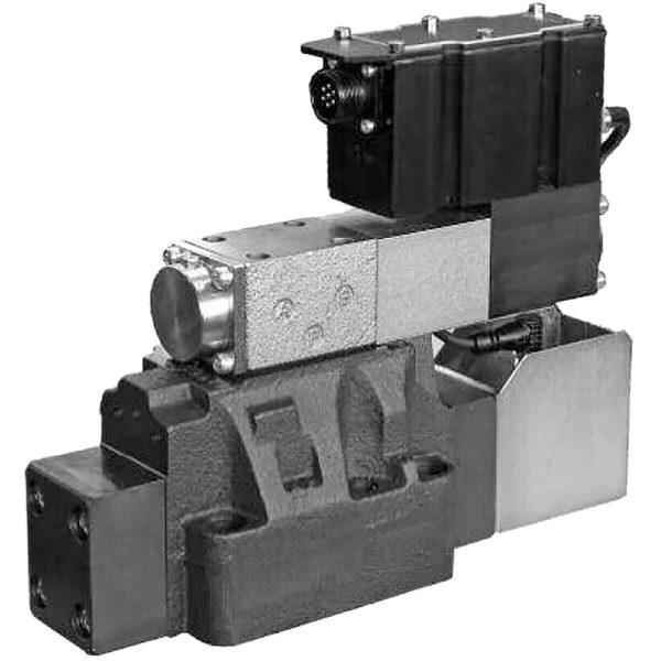 Elővezérelt szervo útszelep arányos mágnesselm ráépített elektronikával, kettős útvisszacsatolással DXRE5RJ ISO 4401-05 DXRE7J ISO 4401-07 DXRE8J ISO 4401-08 DXRE10J ISO 4401-10 DXRE11J ISO 4401-10 túlméretes csatlakozásokkal