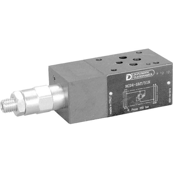 ISO 4401-03 p max 350 bar Q max (lásd katalógus) Az MCD egy ISO 4401-03 közlapos közvetlen vezérlésű nyomáshatároló Rendelhető szimpla állítási lehetőséggel 1 ághoz vagy dupla vezérléssel 2 ághoz, különböző nyomás tartományhoz