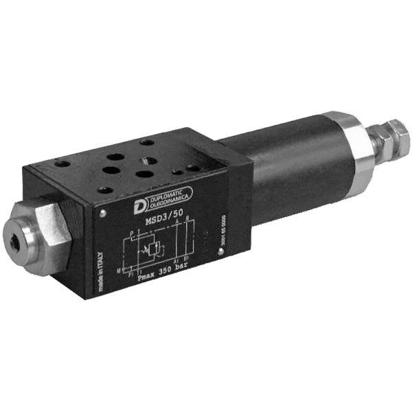 ISO 4401-03 p max 350 bar Q max (lásd katalógus) Közvetlen vezérlésű rákapcsoló szelep Alaphelyzetben a tolattyú zárt, míg P1-nél a nyomásérték el nem éri a beállítottat, ekkor a tolattyú elmozdulva engedi a munka közeget P ágra