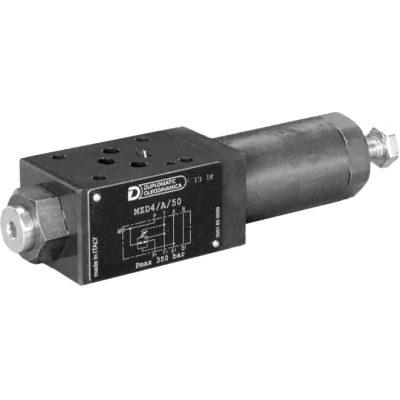 ISO 4401-03 p max 350 bar Q max (lásd katalógus) CETOP 03 közlapos háromutas nyomáscsökkentő a P ágban A szelep kialakítása érzékeny beállítást tesz lehetőve, minimális résolajjal. A résolaj tank ágra van kötve a szelepen belül.