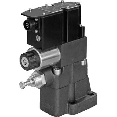 Alaplapos elővezérelt nyomáshatároló arányos mágnessel, ráépített elektronikával CETOP R06, R08, R10 p max 350 bar Q max (lásd katalógus)