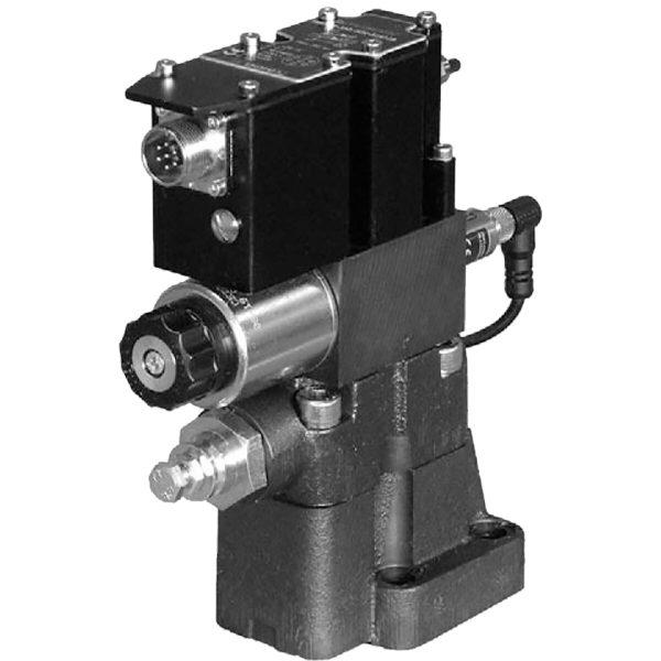 Alaplapos elővezérelt nyomáshatároló arányos mágnessel, ráépített elektronikával, visszacsatolással, zárt körfolyamhoz CETOP R06, R08, R10 p max 350 bar Q max (lásd katalógus)