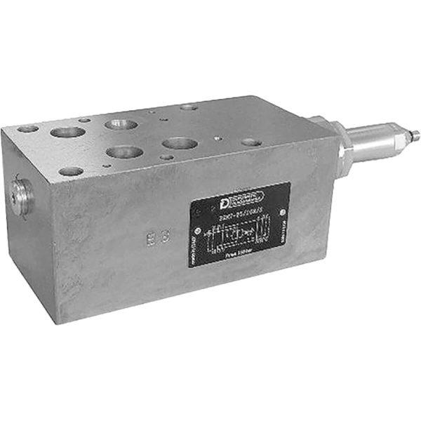 ISO 4401-07 p max 350 bar Q max 250 l/min Közvetlen vezérlésű nyomáscsökkentő közlap CETOP 07 Két lépcsős típus. Nem csak a beállított nyomásérték stabilitását szabályozza, hanem a szelepen keresztüli áramlást is