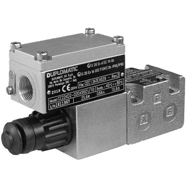 Robbanásbiztos két- és háromutas mennyiség szabályzó arányos mágnessel CETOP 03 ISO 6263-03 ATEX, IECEx, INMETRO p max 250 bar Q max 40 l/min