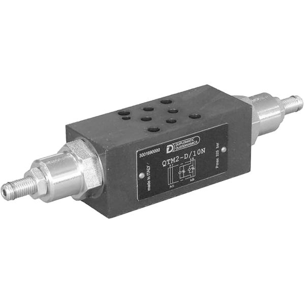 ISO 4401-02 p max 320 bar Q max 30l/min A QTM2 egy közlapos áramlás szabályzó szelep, ISO 4401-es felfogatással, aminek köszönhetően átcsövezés nélkül tudjuk a rendszerbe rakni Csavarral rögzíthető állító csavarját óramutató járásával ellentételesen forgatva növelhetjük az áramlást
