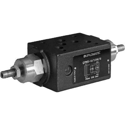 ISO 4401-02 p max 350 bar Q max 120l/min A QTM5 egy közlapos áramlás szabályzó szelep, ISO 4401-es felfogatással, aminek köszönhetően átcsövezés nélkül tudjuk a rendszerbe rakni Csavarral rögzíthető állító csavarját óramutató járásával ellentételesen forgatva növelhetjük az áramlást