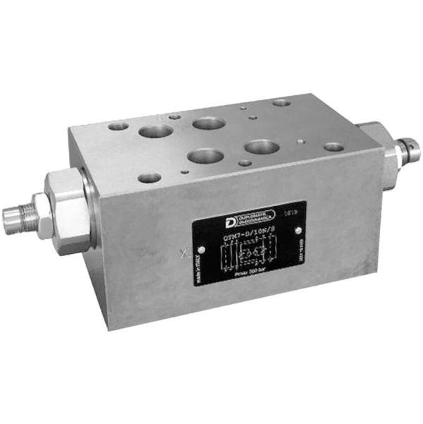 ISO 4401-02 p max 350 bar Q max 250l/min A QTM7 egy közlapos áramlás szabályzó szelep, ISO 4401-es felfogatással, aminek köszönhetően átcsövezés nélkül tudjuk a rendszerbe rakni Csavarral rögzíthető állító csavarját óramutató járásával ellentételesen forgatva növelhetjük az áramlást