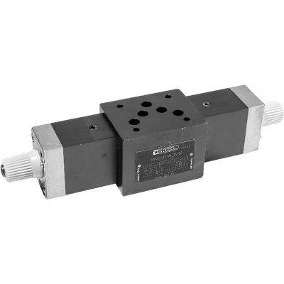 ISO 4401-03 p max 250 bar Q max 30l/min Az RPC1*/M egy nyomás és hőmérséklet kompenzált áramlás szabályzó szelep, ISO 4401 felfogatással ISO4401-05 szelepek alá könnyedén felszerelhető és az aktuátorok sebességét állíthatjuk vele igény szerint