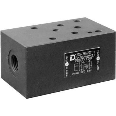 ISO 4401-03 p max 350 bar Q max 40l/min A VSM3 egy közlapos váltó szelep ami A és B vezérlő ágak között kapcsol